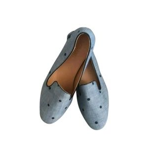 J.Crew Chambray Blue Addie Slip-on Loafer Flats Si